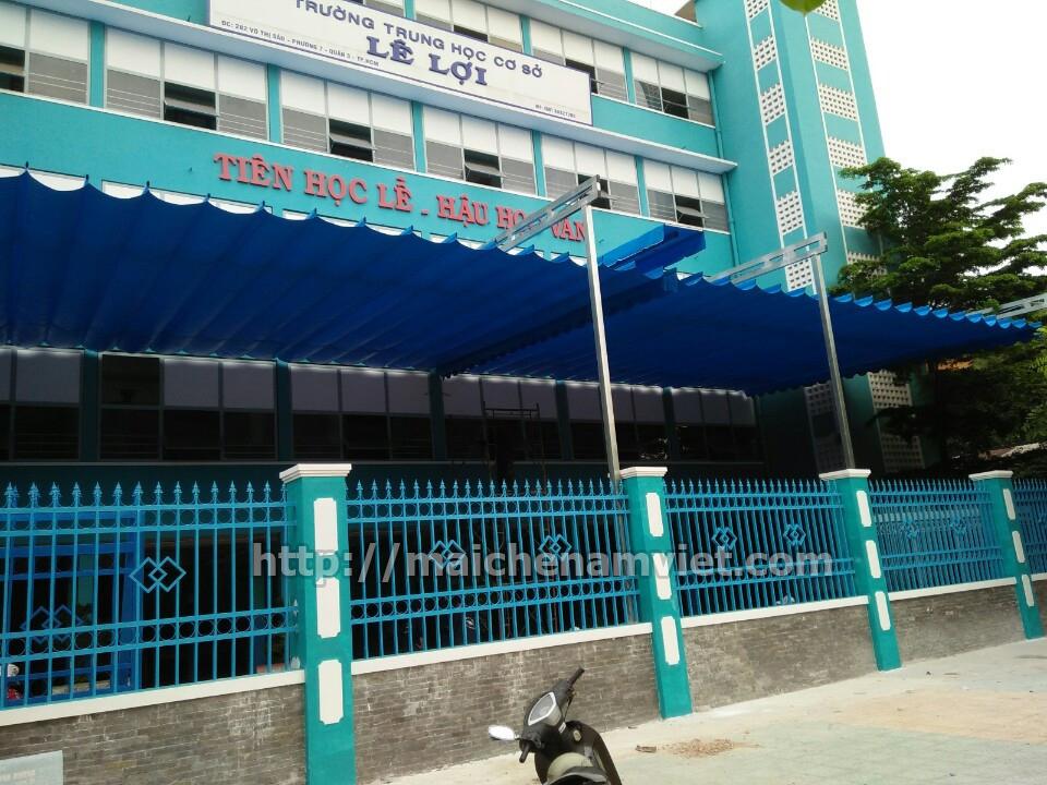 Hoàn thiện công trình mái bạt xếp Trường học Lê Lợi